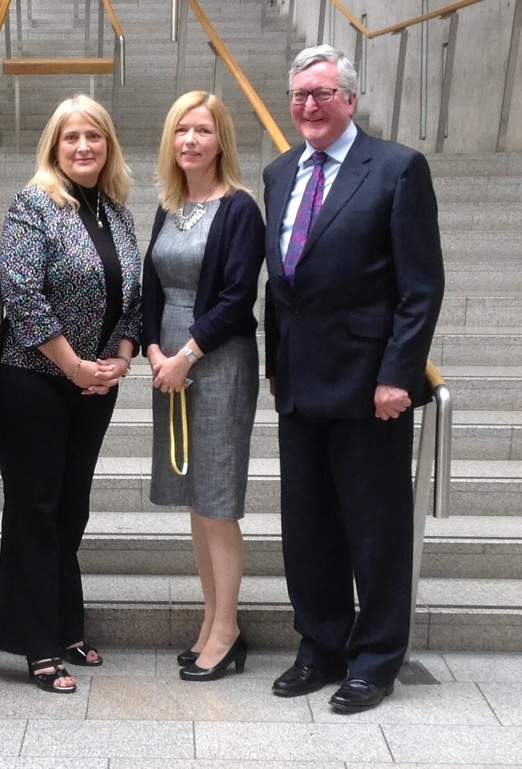 Fergus Ewing MSP, Karen Bell British Consul General, Houston and Lisa Morton, SABA at the Scottish Parliament, Edinburgh